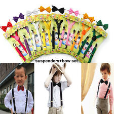 8 Sets Children Kids Boys Girls Suspender Bow tie Set Elastic Y Back Clip-on