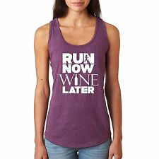 Run now Wine later cute ladies workout tank top gym tank