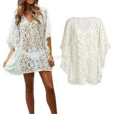 Stylish Women Chic Embroidery Floral White Lace Crochet Tee Shirt Top Blouse G35