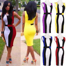 Vintage Womens Colorblock Cocktail Clubwear Party Pencil Bodycon Slim Dress
