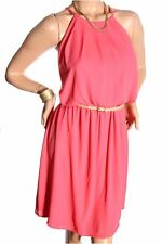DEALZONE Alluring Ruched Neckline Dress 1X 2X 3X Women Plus Size Pink Mid-Calf