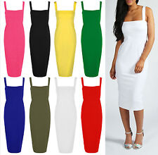 Ladies Plain Bodycon Midi Dress Womens Sleeveless Wide Strappy Dress Plus 8-22