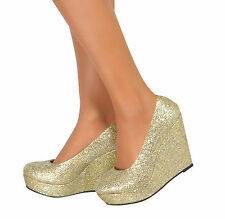 Womens Gold Casual Low Mid High Heels Platform Wedge Pumps Prom Court Shoes 4-9