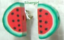 Tiny Fruit Slice Polymer Clay Stud Earrings Strawberry Apple Orange Melon Lime