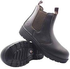 MENS LEATHER DICKIES DEALER SAFETY WORK HIKER BOOTS SLIP ON STEEL TOE CAP SIZE