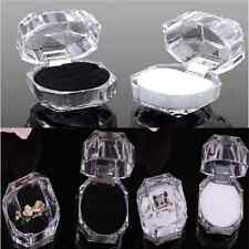 Lovely Clear Crystal Ring Box Earring Storage Display Case Organizer Jewelry New