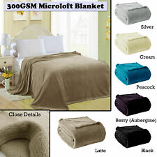 300GSM Soft & Warm Microloft Coral Fleece Blanket SINGLE DOUBLE QUEEN KING