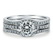 Sterling Silver Wedding set size 8 CZ Round cut Engagement Ring Bridal New w98