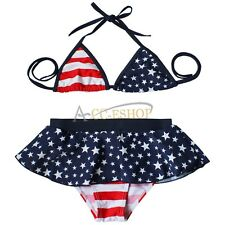 2PCS American USA Flag Star Girl Kid Swimwear Bikini Swimsuit Bathing Beachwear