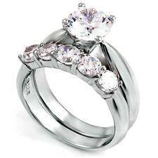 Sterling Silver Wedding set size 6 CZ Round cut Engagement Ring Bridal New w93