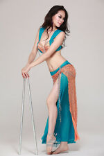2pics sexy belly dance bra+skirt belly dance dancing costume outfits 4colors