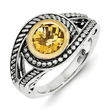 Citrine Ring .925 Sterling Silver w/ 14K Gold Accent Bezel Size 6-8 Shey Couture