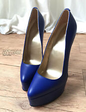 20cm Genuine Leather Extreme Diva Exposed Platform Cobalt Blue Pump High Heel