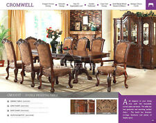 Formal Dining Set Antique Cherry Pedestal Solid Wood Veneer 7 9 pcs Table Chairs