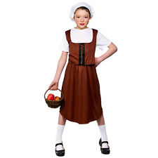 Girls Tudor Girl Costume for Medieval Fancy Dress Childrens Kids Childs