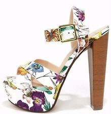Women Sexy White Floral Platform High Heels Open Toe Slingback Chunky PU-Leather