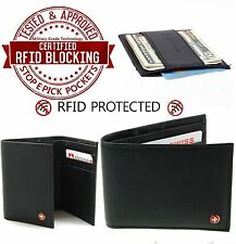 RFID Blocking Mens Wallets Money Clips Card Cases by AlpineSwiss Genuine Leather
