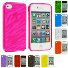 TPU Zebra Color Transparent Rubber Skin Case Cover for iPhone 4 4S 4G