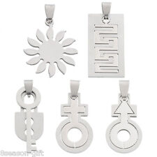 2PCs Bright Silver Tone Stainless Steel Charm Pendants DIY Necklace