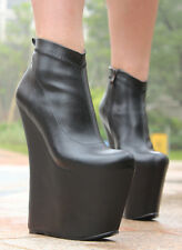 """WOMAN SHOES 7.9"""" SEXY LADY GAGA SUPER HIGH HEEL WEDGE PLATFORM ANKLE BOOTS BLACK"""