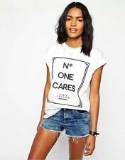 Fashion Womens Casual Blouse Turn Up Sleeve No One Cares Slogan Print T-shirt