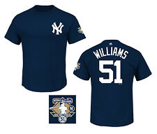 New York Yankees Bernie Williams Navy Blue Name and Number T-Shirt with Patch