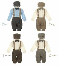 New Baby Toddler Boys Beige Blue Taupe Brown Knickers Vintage Set Outfit Wedding