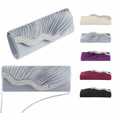Waved Rhinestone Crystal Satin Evening Clutch Bag Women Bridal Handbag Purse New