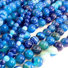 "Blue Stripe Natural Agate Round/Faceted Round Beads 15"" Pick size"