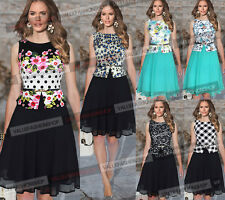 Women Summer Casual Party Chiffon Floral Contrast Belted Flared Skater Dress 745