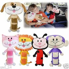SEAT BELT COVER SEATBELT BUDDY CHILDRENS CUDDLY ANIMAL TOY PILLOW CUSHION STRAP