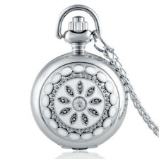 Antique Flower Crystal Quartz Pocket Watch Gift Chain Pendant Necklace mirror in