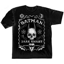 Adult Black DC Comics Superhero Dark Knight Batman Ouija Board Game T-Shirt Tee
