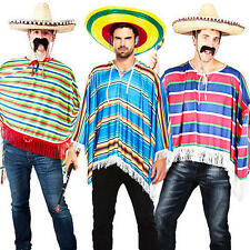 Mexican Poncho + Sombrero Mens Fancy Dress Wild Western Bandit Adults Costume