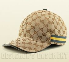 GUCCI beige GG canvas Blue & Yellow WEB RIBBON Baseball Hat cap NWT Authentic!