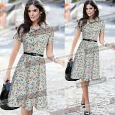 Womens Pinup Summer Floral Chiffon Belted Casual Party Skater A Line Dress 967