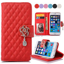 Diamond Camellia Flower PU Leather Handbag Purse Wallet Case Cover For iPhone