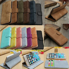 """Real Cowhide Leather Wallet Card Stand Case Cover For iPhone 6 4.7""""/6 Plus 5.5"""""""
