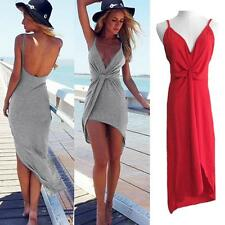 Stylish V Neck Twist Summer Dress Womens Backless Asymmetrical Mini Sexy Dress
