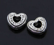 Wholesale 20/50pcs Silver alloy heart spacer Beads Fit Charms Bracelet findings