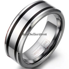 Double Black Striped Silver Tungsten Carbide Ring Anniversary Wedding Band 8mm