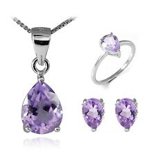 Pear Genuine Gemstone Set Pendant Necklace Earrings Ring 925 Silver 3.7-5ct