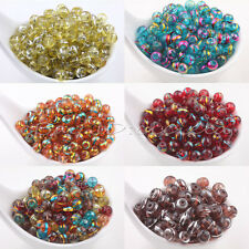 Lots Mixed Round Chic Spun Silver Gold Glass Loose Spacers Charm Beads 6mm 8mm