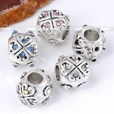 5X Silver Plated Heart Carved Crystal Big Hole European Beads Fit Charm Bracelet