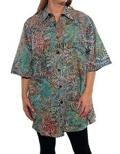 We Be Bop WATERCOLOR FERN  Flat Rayon BIG TUNIC Batik Wearable ART Plus