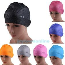 Fashion Adults Waterproof Silicone Swimming Swim Long Hair Cap Hat With Ear Cup
