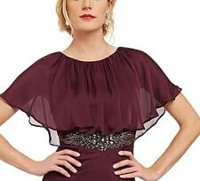 Adrianna Papell Wine Plum Chiffon Capelet Long Mother Bride Groom Dress Gown NEW