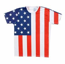 Adult White United States Patriot USA American Flag Sublimation T-Shirt Tee