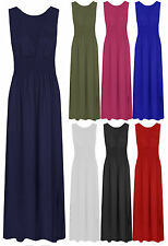 Ladies Deep V Shirred Maxi Dress Womens Sleeveless Stretch Jersey Dress 8-18