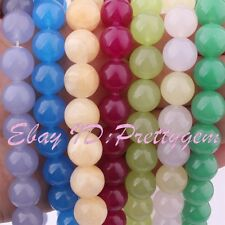 "12mm Round Smooth Jade Gemstone Spacer For Jewelry Making Beads 15"" Pick Color"
